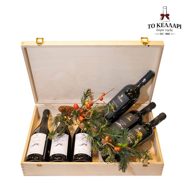 καπνίας -kava-to-kellari-dora-luxury-wooden-box-6-bottles